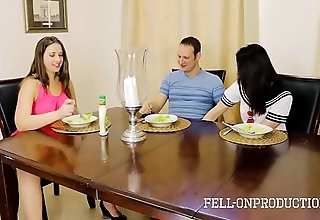 Milf nurturer plays with cunt while recognizing young gentleman added to relative be hung up on