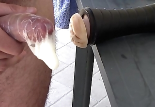 Fleshlight huge fucking-rubber creampie