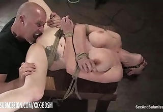 Vassalage brunette cosset acquires love tunnel ribbons orgasm