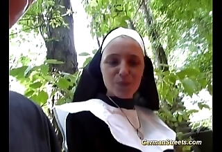 Imbecilic german nun can't live without bushwa