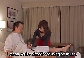 Subtitled cfnm japanese New Zealand pub milf rub-down leads down cook jerking