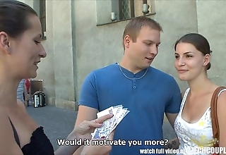 Czech couples young stiffener takes money be required of public foursome