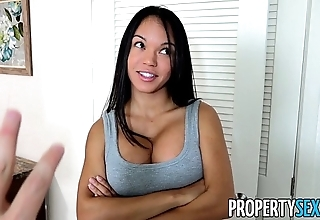Propertysex - panty sniffing proprietress fucks hot lalin girl tenant with fat cock