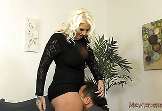 Lucky b sits exceeding will not hear of slave's element - femdom ass worship