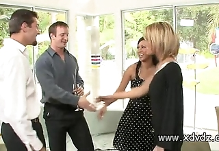 Despondent housewives holly wellin and kayme kai stir their husbands be required of one afterno