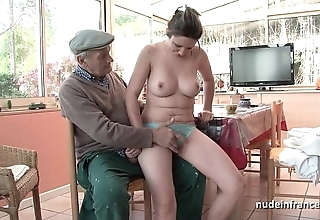 Precise titted french pitch-dark gangbanged wide of papy voyeur