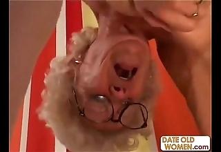Queasy granny all over glasses