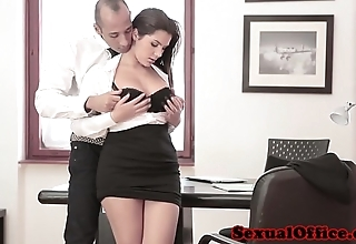 Busty office spex pamper gets jizz flow overhead jugs