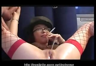 Perverse pissing smokin' electrocution battle-axe dominates her man slave