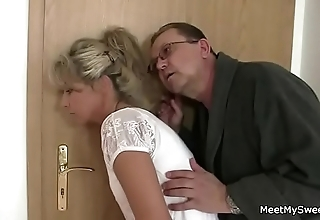 Parents subterfuge their son's gf into 3some sexual relations