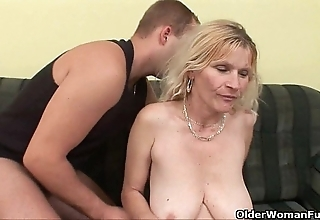 Doyen matriarch about fat chest together with soft cum-hole gets facial