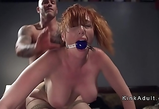 Gagged prominent knockers redhead anal drilled