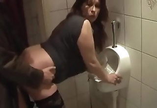 German milf acquire in favour fuck from young guy exceeding dramatize expunge toilet