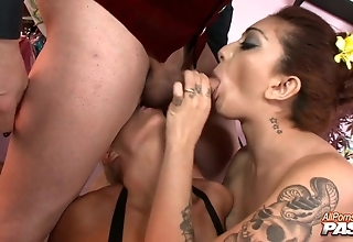 Lustful ballerinas remonstrate gangbang with respect to a masked guy
